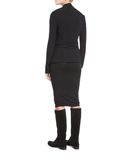 Jersey Wrap-Front Jacket, Black
