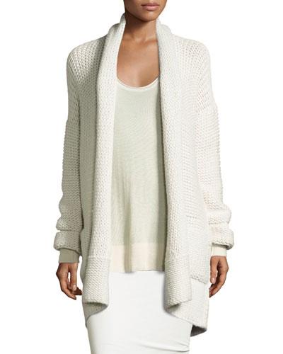 Knit Cashmere Shawl-Collar Cardigan, White Smoke