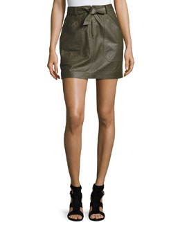 Tie-Front Lamb Leather Mini Skirt, Olive