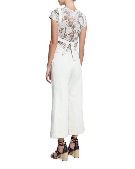 Cropped Wide-Leg Denim Jumpsuit, White