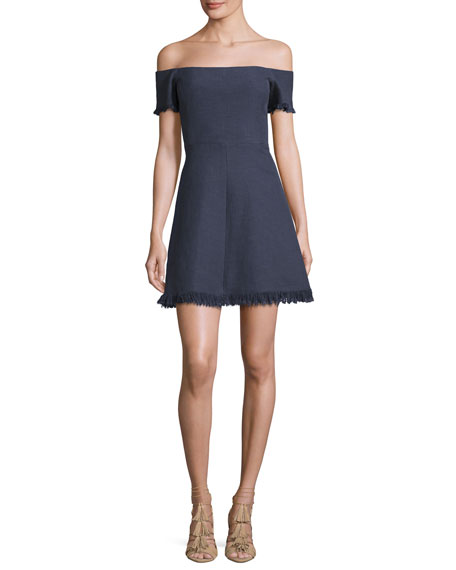 Rebecca Taylor Off-the-Shoulder Suiting Fit & Flare Dress,