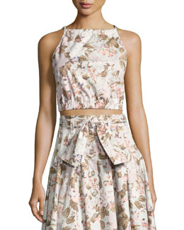 Penelope Floral Sleeveless Crop Top, Multicolor