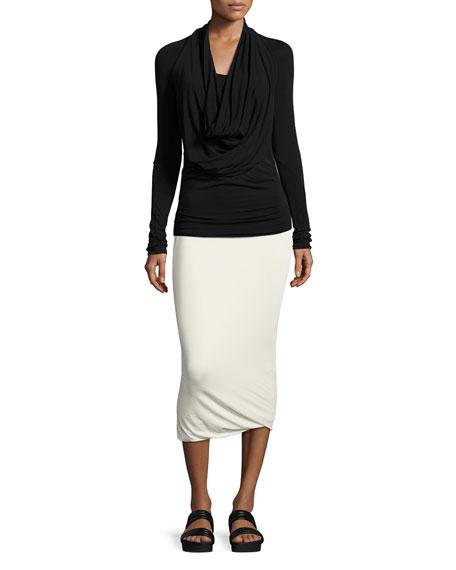 Draped Jersey Midi Pencil Skirt