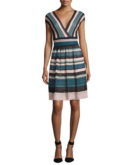 Cap-Sleeve Lace Ribbon Knit A-Line Dress