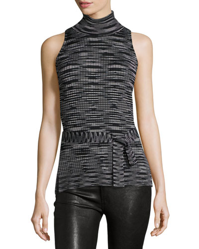 Space-Dye Sleeveless Mock-Neck Top