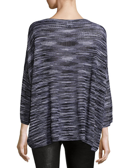 3/4-Sleeve Bateau-Neck Space-Dye Pullover Top