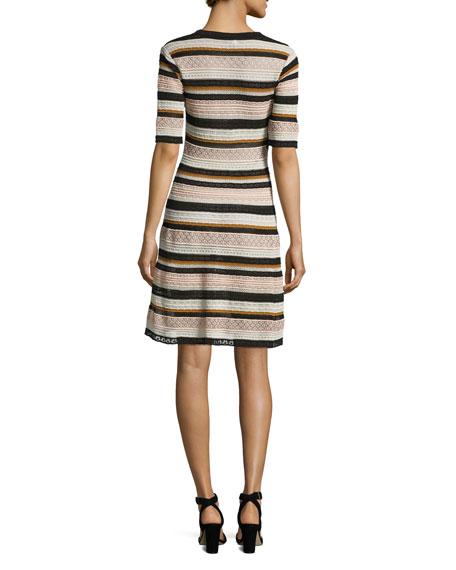 Half-Sleeve Lace Ribbon Fit-&-Flare Dress