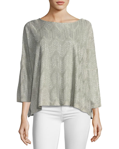 3/4-Sleeve Lurex® Jersey Top