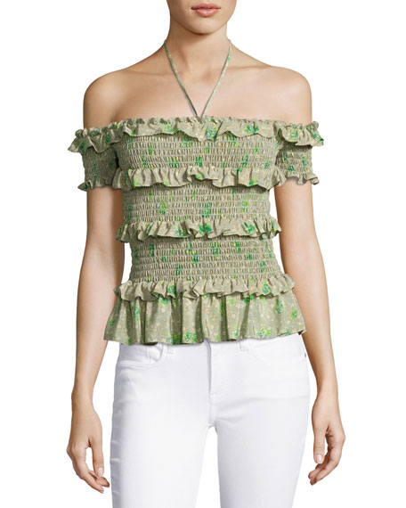 Fleur Ruffle-Trim Smocked Off-the-Shoulder Top, Green/Multicolor