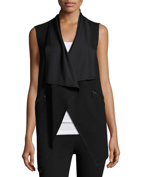 Elie Tahari Taryn Draped Zip-Pocket Vest, Black