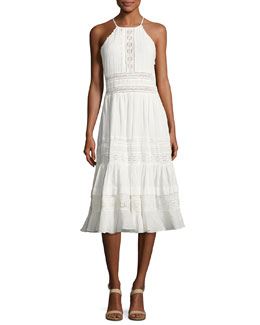 Gauze Lace Sleeveless Midi Dress, White