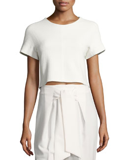 Textured Short-Sleeve Crop Top with Lace Back, White