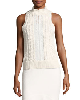 Cable-Knit Sleeveless Sweater with Eyelet Lace, White