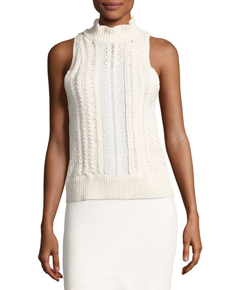 Rebecca Taylor Cable Knit Sleeveless Sweater With Eyelet Lace White