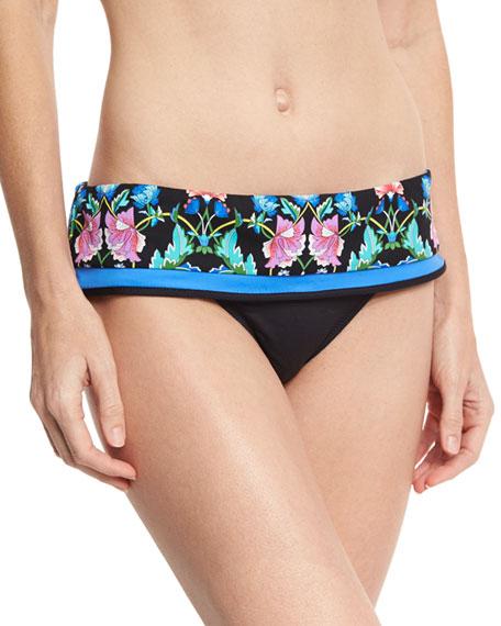 Damask Floral Dreamer Swim Bikini Bottom, Multicolor