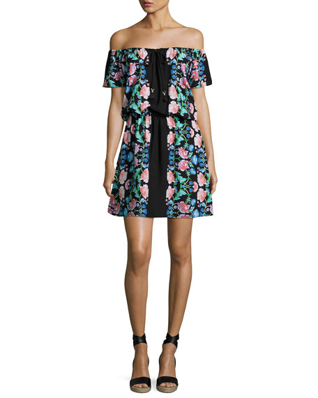Nanette Lepore Damask Floral Off-the-Shoulder Dress, Black