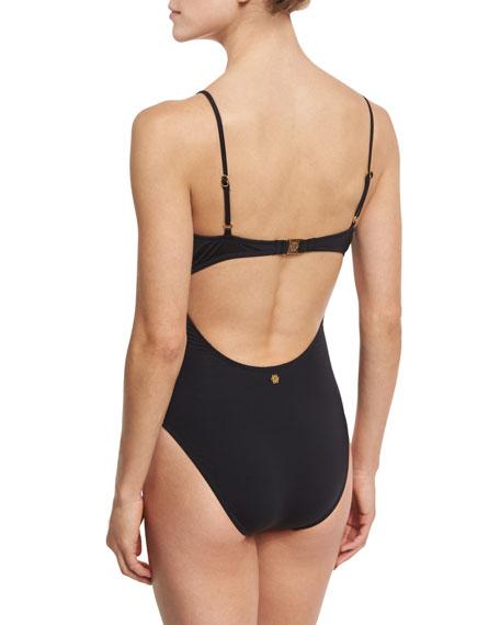 Origami Pleats Goddess One-Piece Swimsuit, Black
