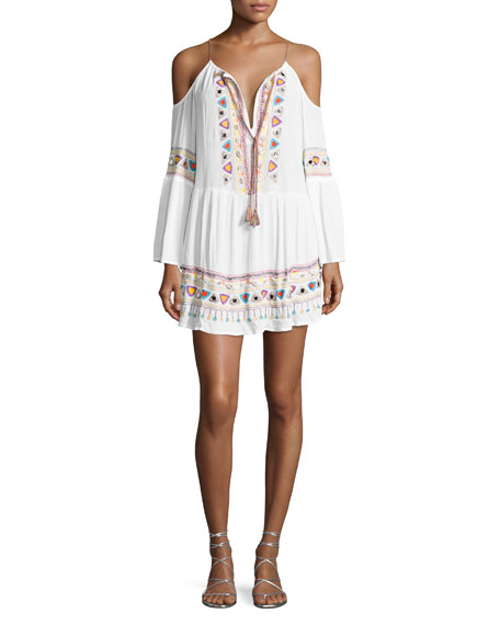 Nanette Lepore Tribal Beat Cold-Shoulder Coverup Tunic, White