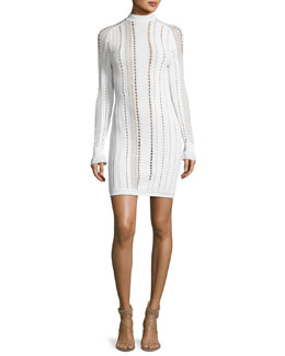 Long-Sleeve Pointelle Textured Mini Dress, Antique White
