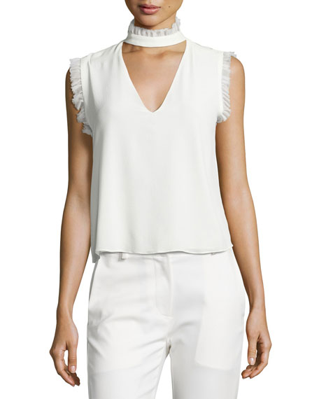 Lilibeth Ruffle-Trim Sleeveless Silk Choker Top, White