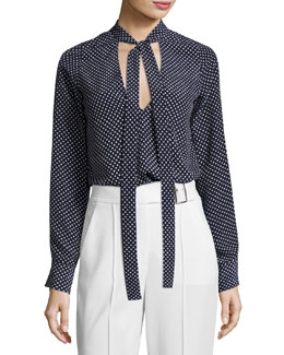 Priya Polka-Dot Tie-Neck Blouse, Blue/White