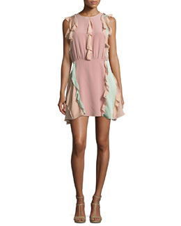 Keely Colorblock Ruffle Mini Dress, Pink