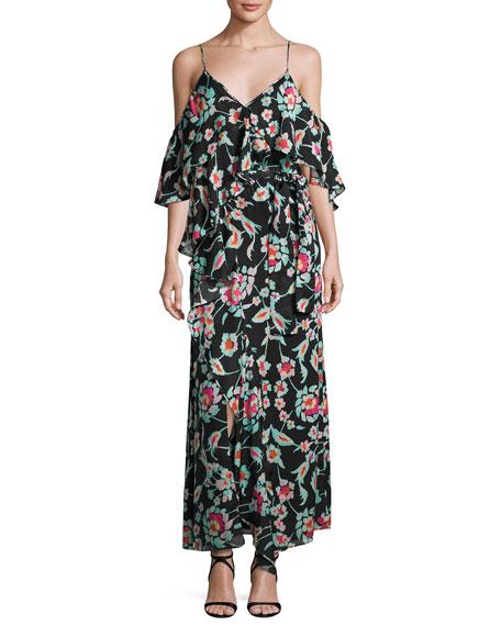 Lorena Mosaic Floral Striped Silk Maxi Dress, Black