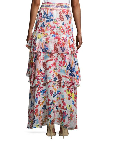 Mariana Floral Burst Maxi Skirt, White/Multicolor