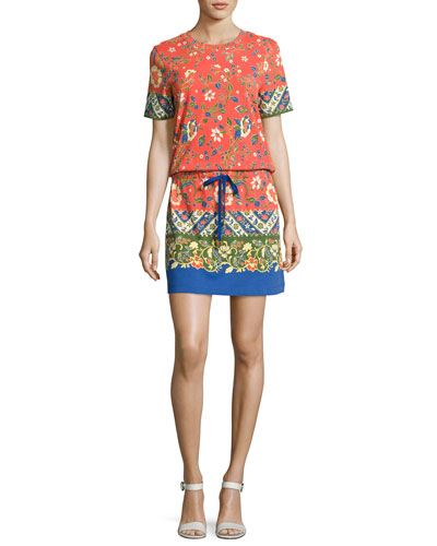 Jessie Drawstring-Waist T-Shirt Dress, Orange Multi
