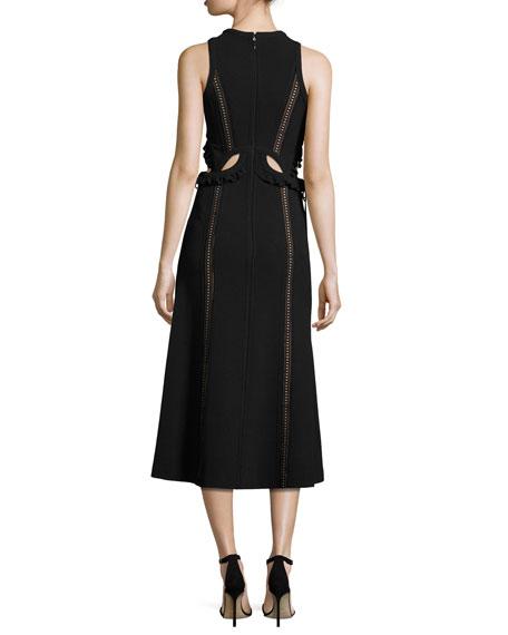 Sleeveless Cutout Midi Dress, Black