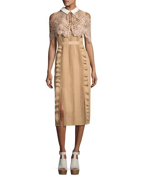 Self-Portrait Hinkley Lace Cape Midi Dress, Nude