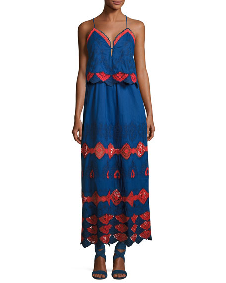 Phyllis Embroidered Cotton Voile Maxi Dress, Blue