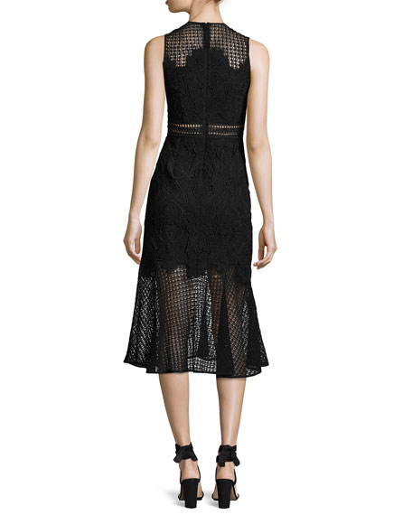 Multimedia Lace Trumpet Midi Dress, Black