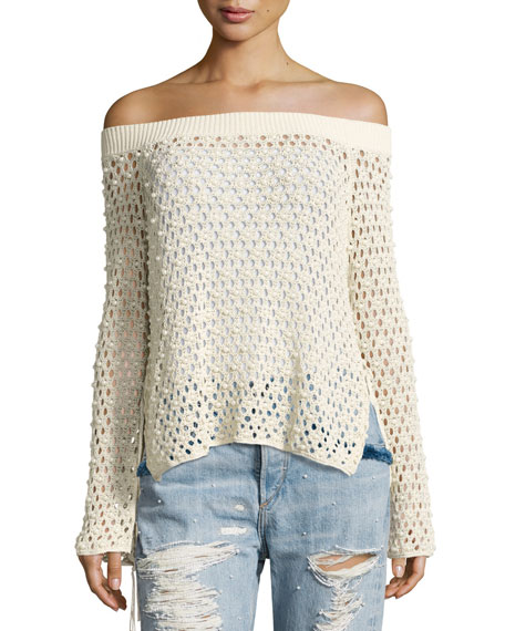 Cage Pearly-Beaded Off-the-Shoulder Top, Beige