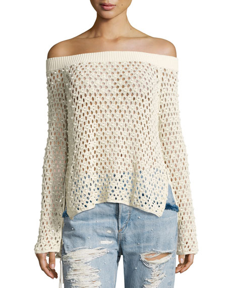 Jonathan Simkhai Cage Pearly-Beaded Off-the-Shoulder Top, Beige