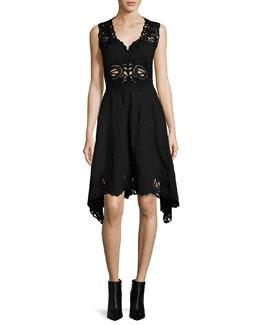 Crochet Embroidered V-Neck Dress, Black