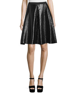 Flared Faux-Leather Skirt, Black