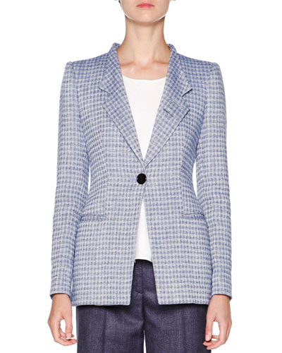 Houndstooth-Print Linen Jacket, Blue/Ivory