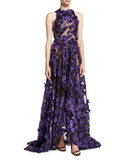 Sheer Sleeveless Gown w/Allover Floral Appliques, Black/Iris