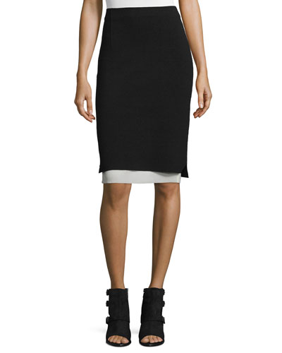 Aimee Layered Pencil Skirt, Black