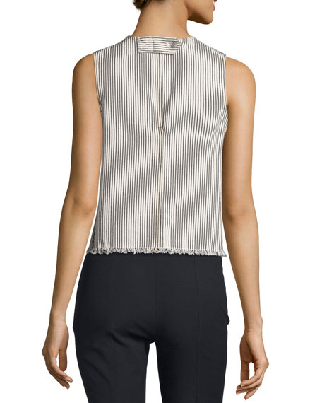 Sleeveless Striped Frayed Cotton Top, Ecru