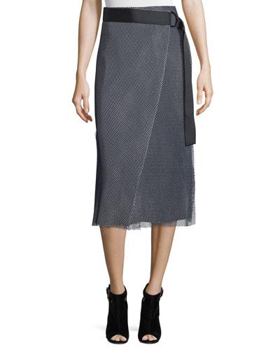 Nora Mesh Wrap Skirt, Navy