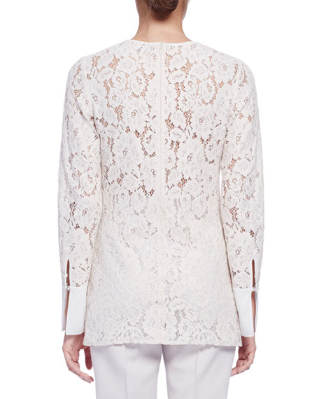 Long-Sleeve Lace Blouse
