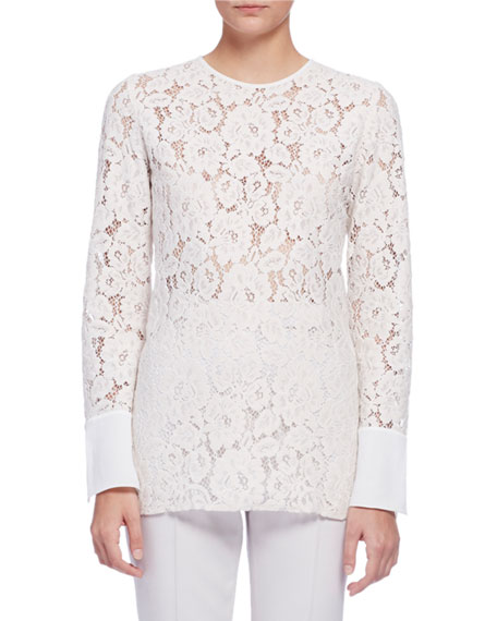 Lanvin Long-Sleeve Lace Blouse