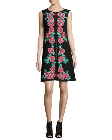 Sleeveless Embroidered Shift Dress, Black