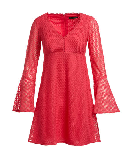 Long-Sleeve Mesh Fit-and-Flare Dress, Pink