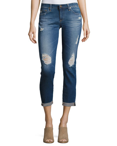 Stilt Roll-Up Cropped Distressed Jeans, Medium Blue