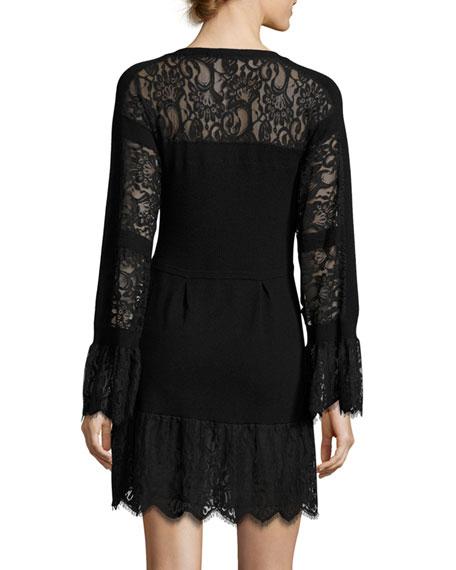 Long-Sleeve Lace-Trim Wool Sweaterdress, Black