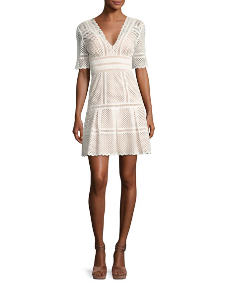 Catherine Deane Scalloped Eyelet Elbow-Sleeve Dress, White