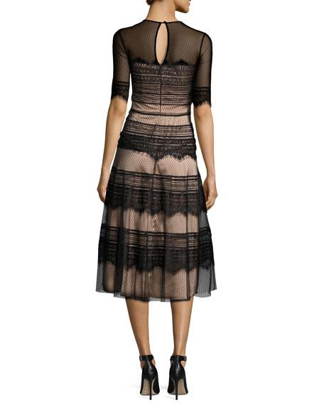 Half-Sleeve Point d'Esprit Lace Dress, Black